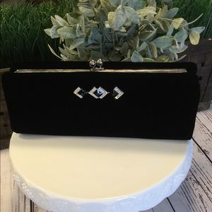Kate Landry Black Velvet Evening Bag